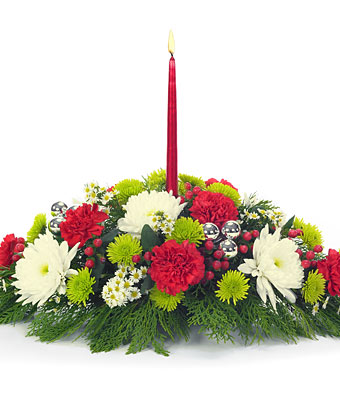 Christmas Centerpiece Flowers With A Candle Delivery To Cebu