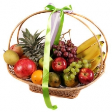 7 Different Fruits in a Low Round Basket