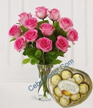 12 Pink Roses in Bouquet with Heart shape Chocolate
