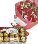 24 Red Roses in Bouquet with 16 pcs Ferrero Chocolates