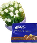 12 White Roses in Bouquet with Chocolate