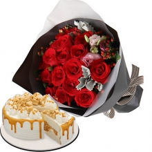 12 Red Roses in Bouquet with Red Ribbon Cake