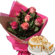 6 Pink Roses Bouquet with Coffee Crunch by Red Ribbon