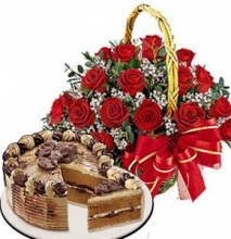 12 Red Roses Basket with Red Ribbon Mocha Crunch Cake