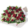 Bouquet of 24 Red Roses with babys breath