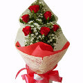 6 Fresh Red Roses Bouquet