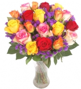 From The Heart 12 Multi Color Roses in Free Vase
