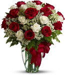 24 Red & white Rose in Vase