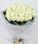 36 White Roses in Bouquet