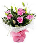 6 Pink Roses in Bouquet