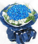36 Blue Roses in Bouquet