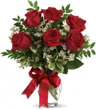 Half Dozen Red Roses in Vase