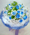 12 Blue Roses in Bouquet
