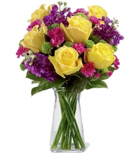 6 Pcs Yellow Roses in Vase