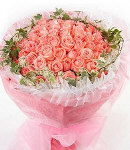 48 Pink Roses in Bouquet