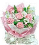 6 Peach Roses in Bouquet