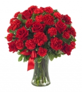 Red Roses & carnation in Vase