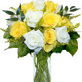 12 Yellow and White Roses in vase