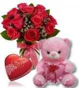 12 Roses with Teddy Bears and Swiss Chocolate