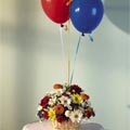 1 Basket flowers with 3 pcs Balloons