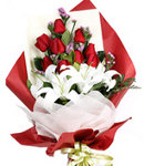 12 Red Roses w/ 3 Lilies in Bouquet