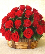 24 fresh red roses in basket