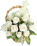 24 fresh white roses in basket