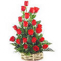 2 dozen fresh red roses in basket
