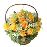 Two Dozen Fresh yellow Roses in Basket