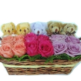 Mix Rose Basket with Cute 5 Mini Bear