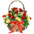 24 Red And Yellow Roses in Basket