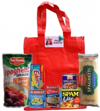 Groceries Spaghetti and Canned Goods Package with Red Bag
