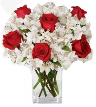 6 Red Roses Snow with Christmas White Peruvian Lilies