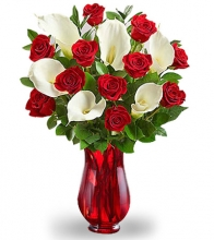 Christmas Red Rose with White Calla Lilies