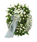 White Roses with Lilies and Gerbera Wreath