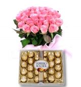 36 Pink Roses bouquet  with 24 pcs Ferrero