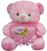 "12'"" Bear with Rose on a Heart Pillow"