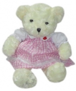 "15"" Bear w/ Pink Checkered Dress"