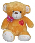 "20"" Brown Bear w/ Ribbon & Heart Embro"