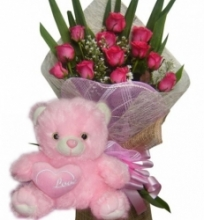 12 Pink Roses with Love Bear
