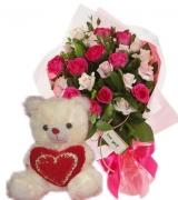 24 Red & White Roses with White Bear