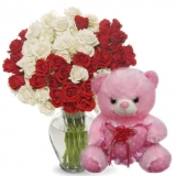 36 Red & White Roses with Bear