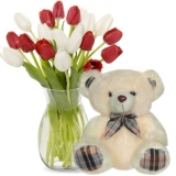 12 White & Red tulip with Bear
