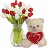 12 White & Red Tulip with Love Bear