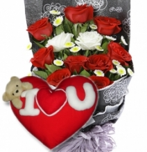 12 Red & White Roses with Love Pilllow