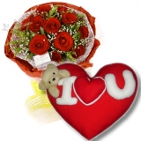 12 Red Roses with Love Pillow