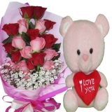 12 Red & Pink Roses with Pink Bear
