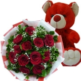 12 Red Roses with Red Bear