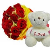 12 Red Roses with White Bear