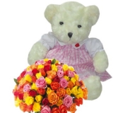 24  Mixed Color Roses with Bear